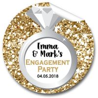 Gold Glitter Ring Personalised Engagement Party Stickers 1xA4 sheet