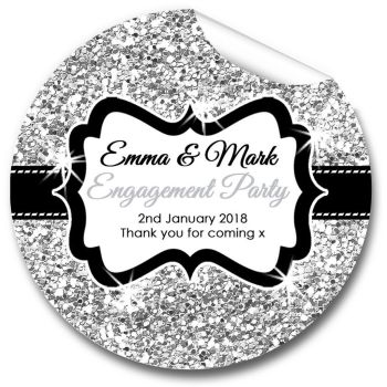 Silver Glitter Personalised Engagement Party Stickers 1xA4 sheet