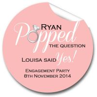 Popped The Question Personalised Engagement Party Stickers 1xA4 sheet