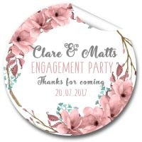 Boho Floral Wreath Personalised Engagement Party Stickers 1xA4 sheet