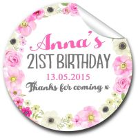 Anna Floral Wreath Personalised Adult Birthday Party Favour Stickers, 1xA4 sheet
