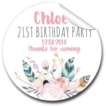 Boho Floral Feathers Personalised Birthday Party Bags Favour Stickers x1 A4 sheet