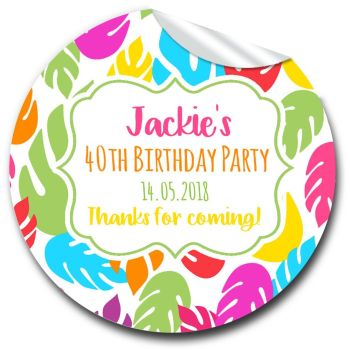 Bright Tropical Leaves Personalised Birthday Party Stickers x1 A4 sheet