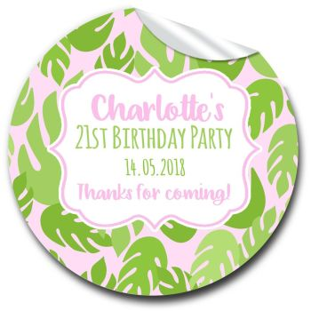 Palm Leaves Tropical Personalised Adult Birthday Party Bag Favours Stickers, 1xA4 sheet