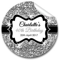 Silver Glitter Personalised Adult Birthday Party Bag Favours Stickers, 1xA4 sheet