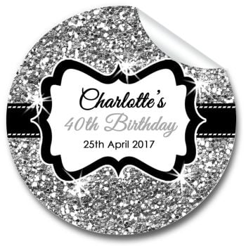Silver Glitter Personalised Birthday Party Stickers