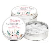 Boho Floral Feathers Personalised Birthday Party Favour Tins Keepsakes x1