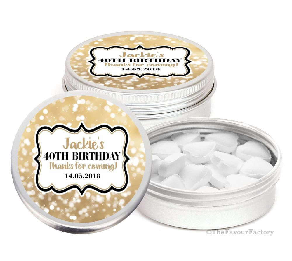 Personalised Birthday Party Favour Tins Keepsakes x1