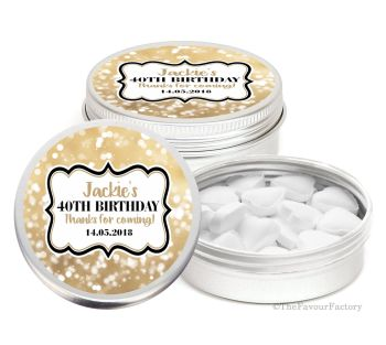 Bokeh Sparkles Personalised Birthday Party Favour Tins Keepsakes x1