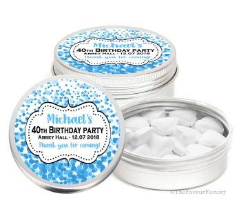 Confetti Blue Personalised Birthday Party Favour Tins Keepsakes x1
