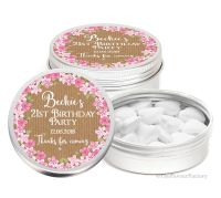 Kraft Florals Personalised Birthday Party Favour Tins Keepsakes x1