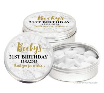 Marble Personalised Birthday Party Favour Tins Keepsakes x1