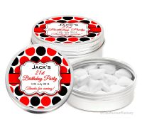 Polka Dots Personalised Birthday Party Favour Tins Keepsakes x1