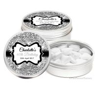 Silver Glitter Personalised Birthday Party Favour Tins Keepsakes x1