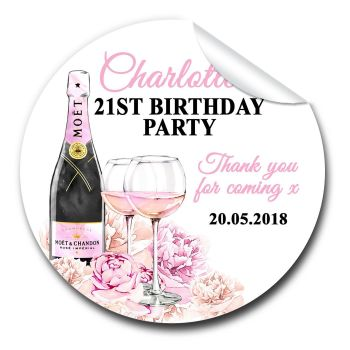 Champagne & Flowers Birthday Party Bag Favours Stickers, Personalised