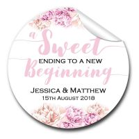 Sweet Ending Florals 1xA4 sheet of Personalised Wedding favour stickers
