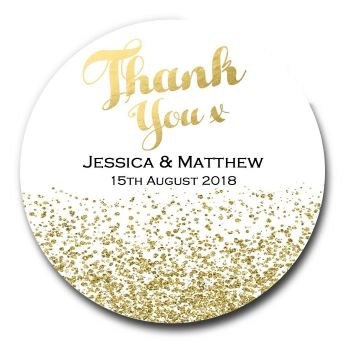 Gold Glitter Confetti Personalised Wedding Favours Stickers