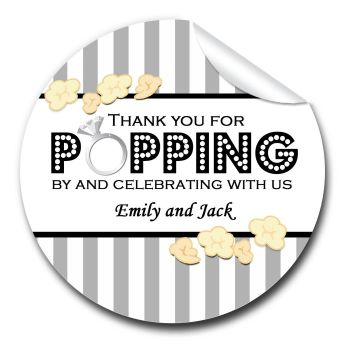 Popcorn Stripes 1xA4 sheet of Personalised Wedding favour stickers