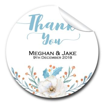 Winter Wedding Favour Stickers Personalised Floral Wreath