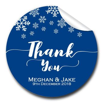 Snowflakes 1xA4 sheet of Personalised Wedding favour stickers