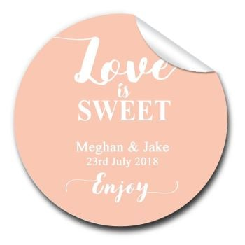 Love is Sweet Personalised Wedding Day Thank You Stickers