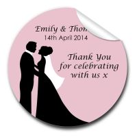 Bride & Groom Personalised Wedding Favours Stickers