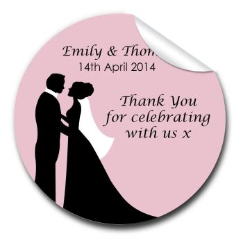Wedding Favour Stickers Personalised Bride & Groom