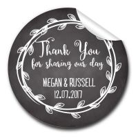 Chalkboard Laurels Personalised Wedding Favours Stickers