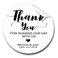 Thank You Personalised Wedding Favours Stickers 1x A4 sheet