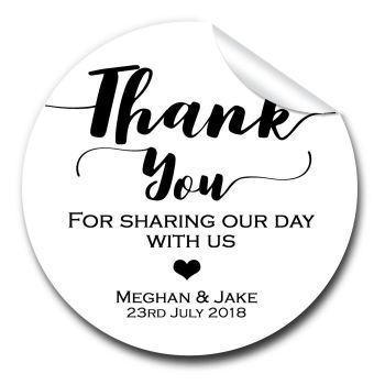 Wedding Favour Stickers Personalised Thank You Design