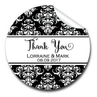 Damask 1xA4 sheet of Personalised Wedding favour stickers