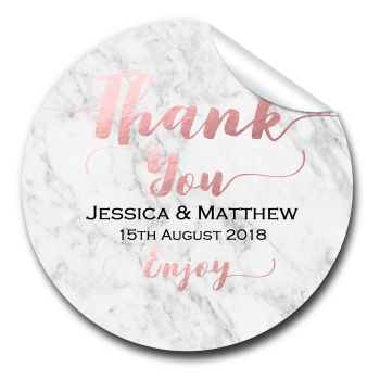 Marble Personalised Wedding Favours Stickers