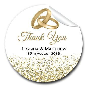 Wedding Favour Stickers Personalised Gold Rings Glitter