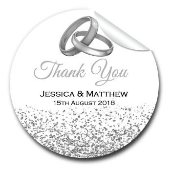 Wedding Favour Stickers Personalised Silver Rings & Glitter