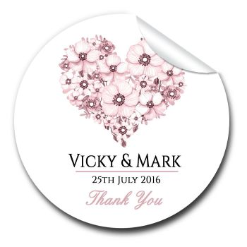 Floral Heart Personalised Wedding Favours Stickers