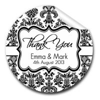 Elegant Damask 1xA4 sheet of Personalised Wedding favour stickers