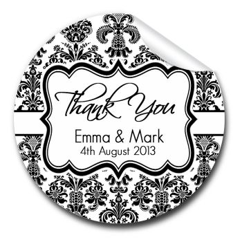Elegant Damask 1xA4 sheet of Personalised Wedding favour stickers