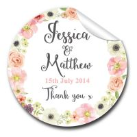 Jessica Floral Wreath Personalised Wedding Day Stickers