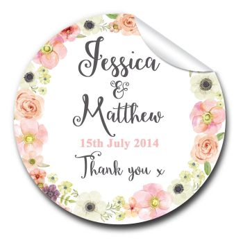Jessica Floral Wreath 1xA4 sheet of Personalised Wedding favour stickers