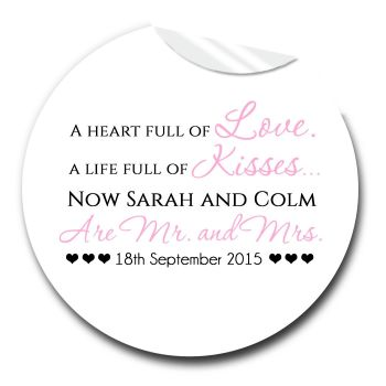 Wedding Favour Stickers Personalised Heart Full of Love