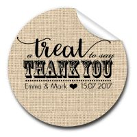 A Treat To Say Thank you Personalised Wedding Favours Stickers
