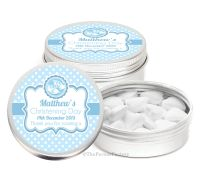 Booties Blue Personalised Christening Day Favour Tins Keepsakes x1