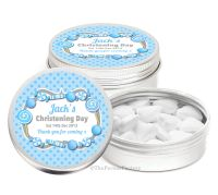 Candy Sweets Blue Personalised Christening Day Favour Tins Keepsakes x1