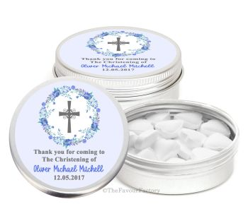 Floral Wreath Cross Blue Personalised Christening Day Favour Tins Keepsakes x1