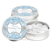 Glitter Blue Personalised Christening Day Favour Tins Keepsakes x1