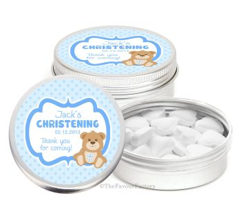 Teddy Bear Blue Personalised Christening Day Favour Tins Keepsakes x1