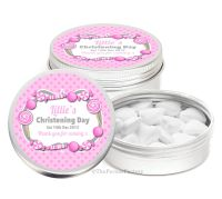 Candy Sweets Pink Personalised Christening Day Favour Tins Keepsakes x1
