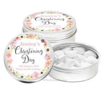 Jessica Florals Personalised Christening Day Favour Tins Keepsakes x1
