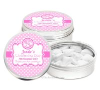 Booties Pink Personalised Christening Day Favour Tins Keepsakes x1