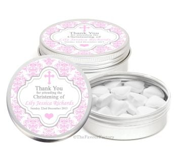 Damask Cross Pink Personalised Christening Day Favour Tins Keepsakes x1